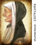 nun. an hand painting  ... | Shutterstock . vector #1337911496