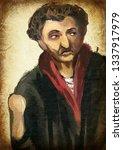 man. an hand painting  ... | Shutterstock . vector #1337917979