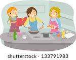 illustration of women cooking... | Shutterstock .eps vector #133791983
