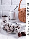 chocolate crinkle cookies with... | Shutterstock . vector #1337921120