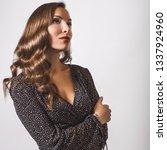 beautiful girl in stylish dress ... | Shutterstock . vector #1337924960