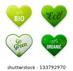 Set Of Bio  Eco  Organic Heart...