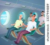 cute smiling passenger listen... | Shutterstock .eps vector #1337944889