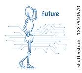 happy humanoid robot with...   Shutterstock .eps vector #1337950670