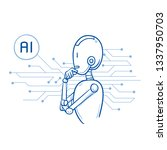 humanoid robot with arms in...   Shutterstock .eps vector #1337950703