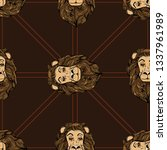 seamless pattern with lions.... | Shutterstock .eps vector #1337961989