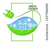 eco green energy concept. world ... | Shutterstock .eps vector #1337986040