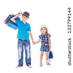 fashionable children holding... | Shutterstock . vector #133799144