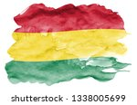 bolivia flag  is depicted in... | Shutterstock . vector #1338005699