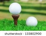 golf balls on grass outdoor... | Shutterstock . vector #133802900