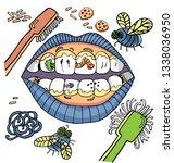 vector dental hygiene humour... | Shutterstock .eps vector #1338036950