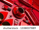 woman red accessories with... | Shutterstock . vector #1338037889