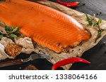smoked fillet salmon  red fish... | Shutterstock . vector #1338064166