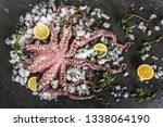 whole fresh raw octopus with... | Shutterstock . vector #1338064190