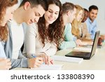 many students learning together ... | Shutterstock . vector #133808390
