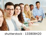 class of many smiling students... | Shutterstock . vector #133808420