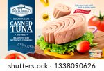 canned tuna ads with fresh... | Shutterstock .eps vector #1338090626