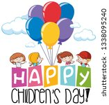 happy children day icon... | Shutterstock .eps vector #1338095240