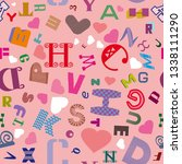 seamless pattern with latin... | Shutterstock .eps vector #1338111290