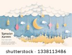 eid mubarak greeting card ... | Shutterstock .eps vector #1338113486