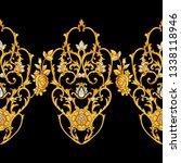 seamless border with golden...   Shutterstock . vector #1338118946