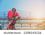 safety concept  worker wearing...   Shutterstock . vector #1338143126