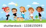 children having fun outdoors.... | Shutterstock .eps vector #1338155093