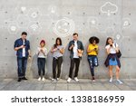 diverse people using their... | Shutterstock . vector #1338186959