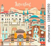 istanbul city colorful card.... | Shutterstock . vector #1338195350