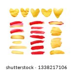 set of gold and red strokes... | Shutterstock . vector #1338217106