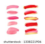 set of pink and red strokes... | Shutterstock . vector #1338221906