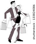 happy shopping couple chic... | Shutterstock .eps vector #133824086