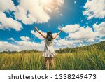 young beautiful woman on green... | Shutterstock . vector #1338249473