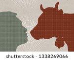 profile drawn silhouettes   man ... | Shutterstock . vector #1338269066
