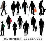 people strolling in the park | Shutterstock .eps vector #1338277136