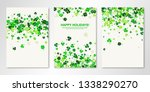 Stock vector banners set of three sheets with four leaved greenery clover shamrock confetti on white vector 1338290270