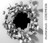 dark destruction cracked hole... | Shutterstock . vector #1338298106