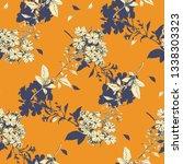 vintage myosotis flowers sketch ... | Shutterstock . vector #1338303323