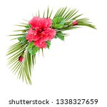 hibiscus flower and palm leaves ... | Shutterstock . vector #1338327659