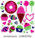 colorful patterned muffins set... | Shutterstock .eps vector #133832906