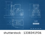 outline blueprint of forklift.... | Shutterstock .eps vector #1338341936