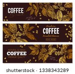 set of vector coffee horizontal ...   Shutterstock .eps vector #1338343289