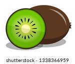 kiwi fruit vector  flat... | Shutterstock .eps vector #1338366959