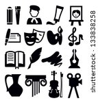 vector black arts icon set on... | Shutterstock .eps vector #133838258