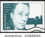 Small photo of SWEDEN - CIRCA 1990: A stamp printed in the Sweden shows Albert Camus, Nobel Laureate in Literature, 1957, circa 1990