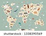 animals on world map... | Shutterstock . vector #1338390569