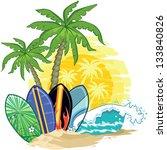 tropical landscape  palm trees... | Shutterstock . vector #133840826