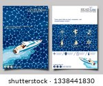top view speed boat on water... | Shutterstock .eps vector #1338441830