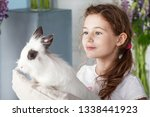 little girl playing with real...   Shutterstock . vector #1338441923