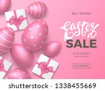 stylish easter sale banner with ... | Shutterstock .eps vector #1338455669